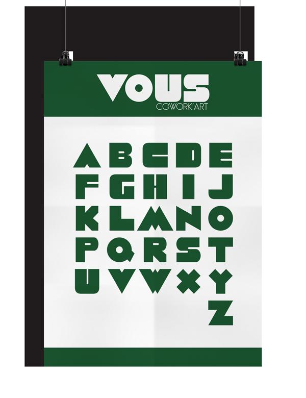 Identité visuelle, typographie et logo VOUS Cowork'Art, Mitaki Design