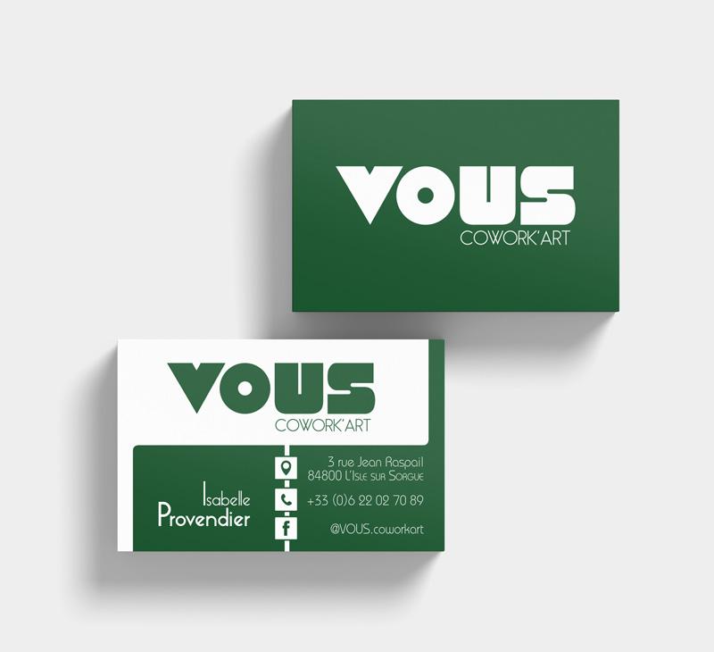 Création carte de visite VOUS par Mitaki-Design graphiste près d'Avignon
