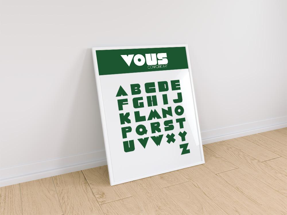 Création identité visuelle pour VOUS : Typographie par Mitaki-Design graphiste à l'Isle sur Sorgue