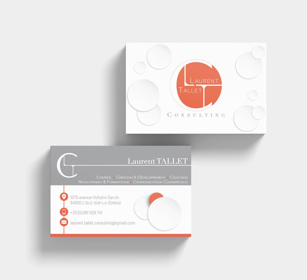 Création identité visuelle, cartes de visite LTC, Mitaki Design graphiste Avignon