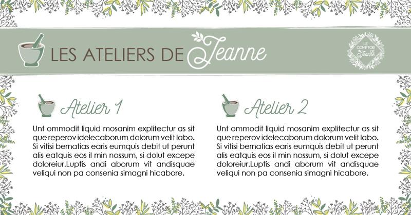 Template personnalisé post Facebook Le Comptoir de Jeanne par Mitaki Design